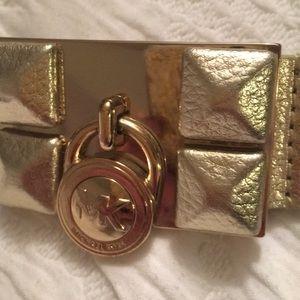 MK gold leather belt